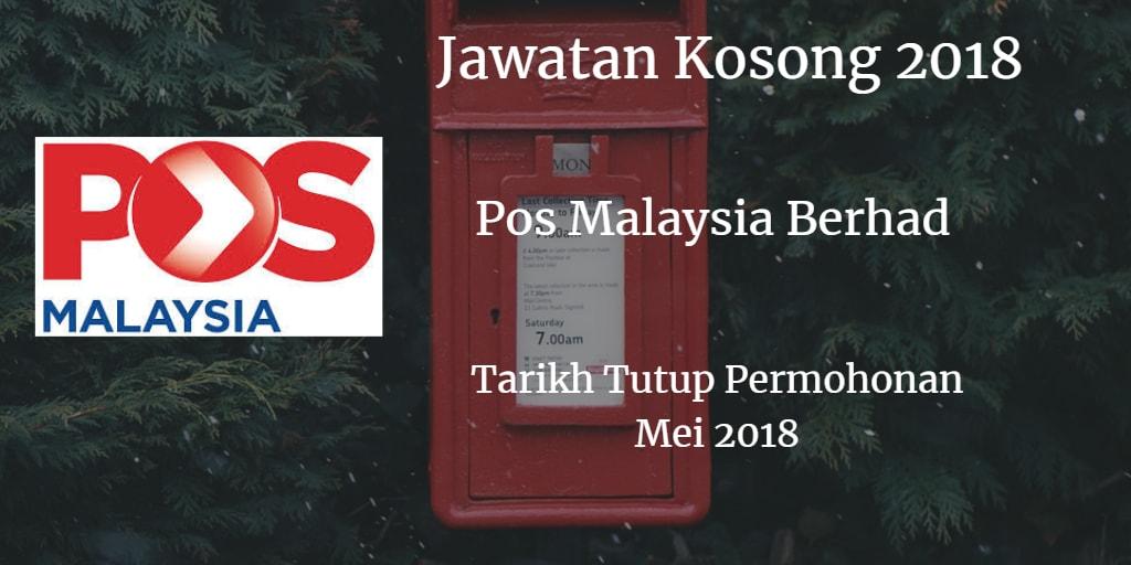 Jawatan Kosong POS MALAYSIA BERHAD Mei 2018
