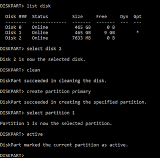 Diskpart active screenshot