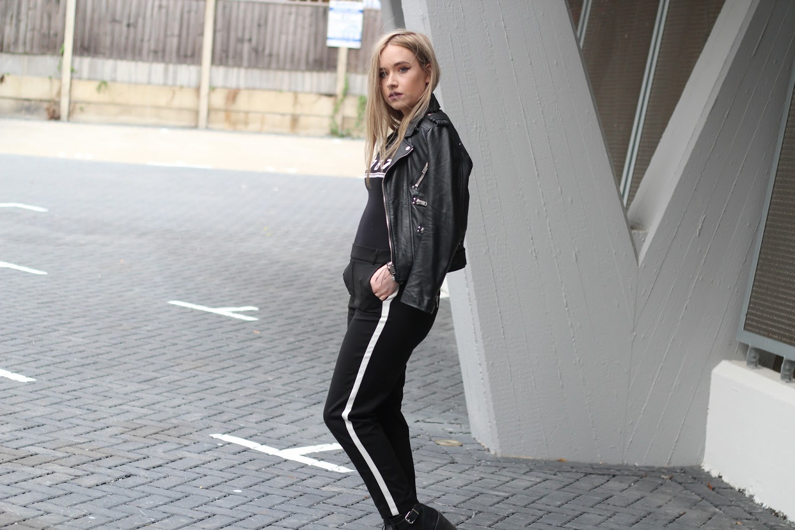 Fashion blogger Lucy Love wears racing stripe trend