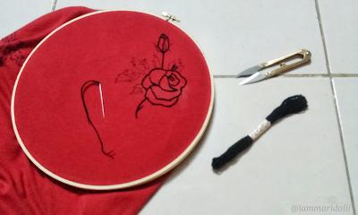 Diy, embroidery rose tshirt