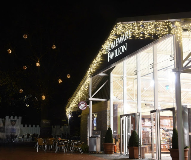 homeware pavilion clarks village decorated with christmas lights