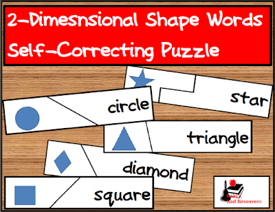 Free self-correcting puzzle to help students match 2-dimensional shape pictures to 2-dimensional shape words. Free download from Raki's Rad Resources.