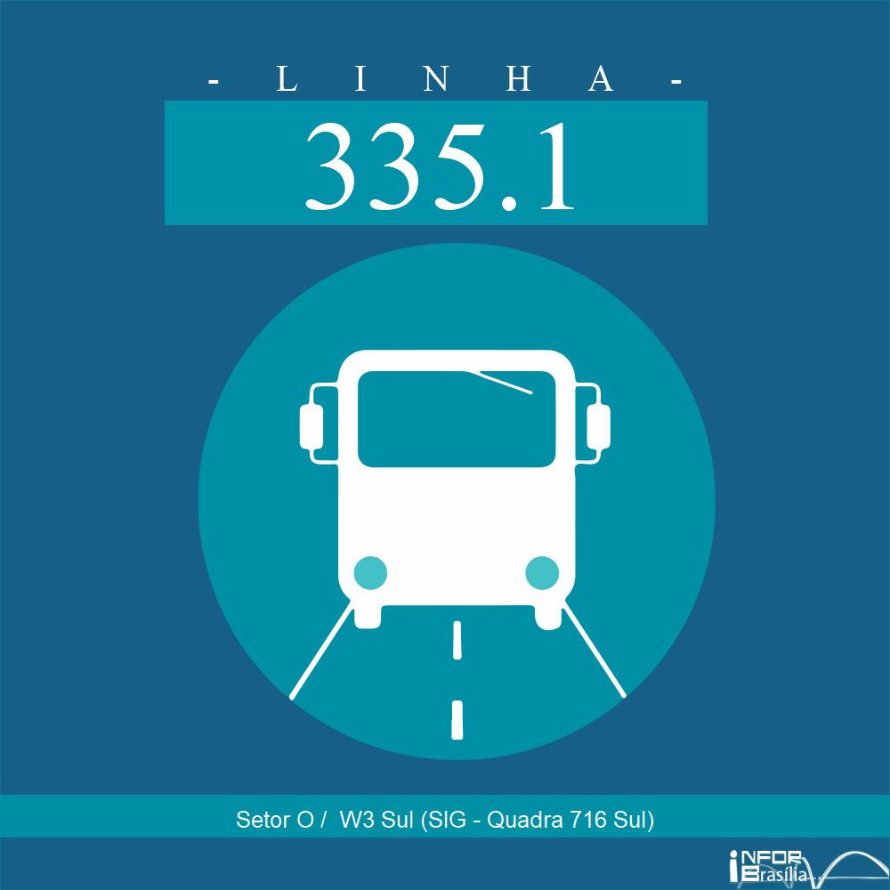 Horário de ônibus e itinerário 335.1 - Setor O /  W3 Sul (SIG - Quadra 716 Sul)