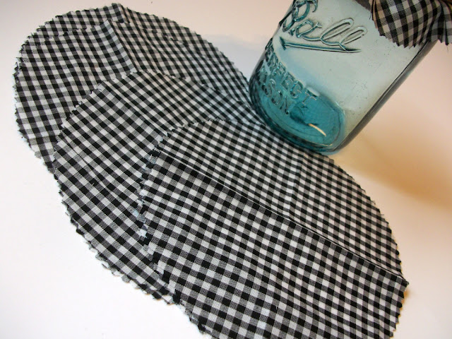 black & white gingham jam jar covers