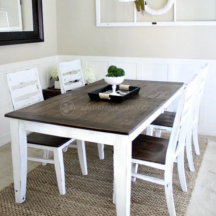 Set Meja Makan Vintage Duco Putih