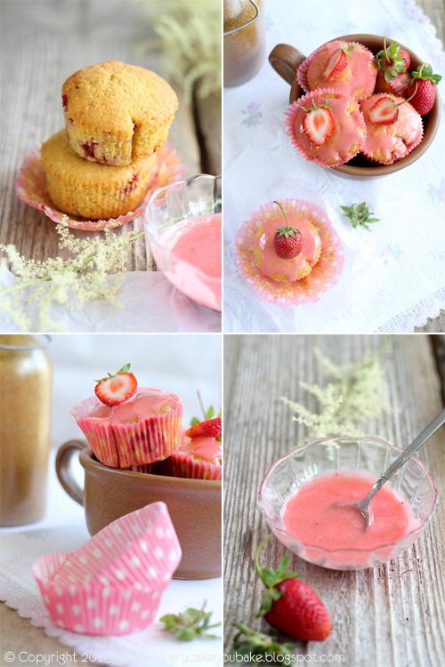 kukurydziane babeczki z truskawkami i różowym truskawkowym lukrem