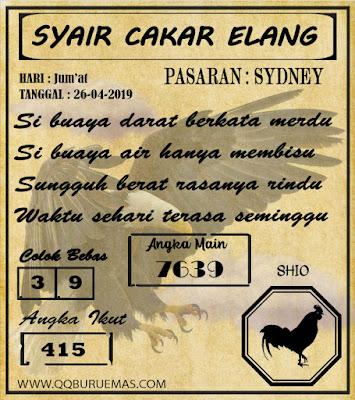 Syair SYDNEY,26-04-2019