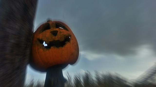 A pumpkin stands watch over the crowds below...