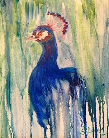 Peacock portrait in oils, drip method