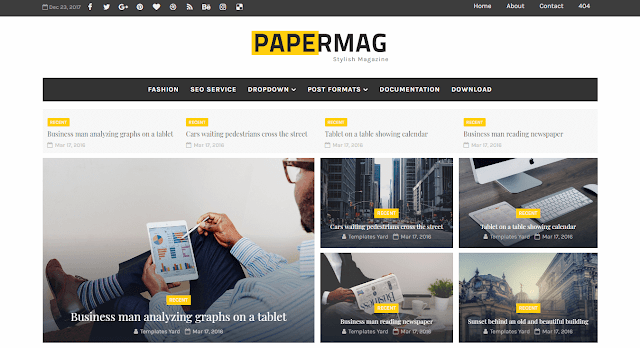 Papermag Stylish Magazine Blogger Template