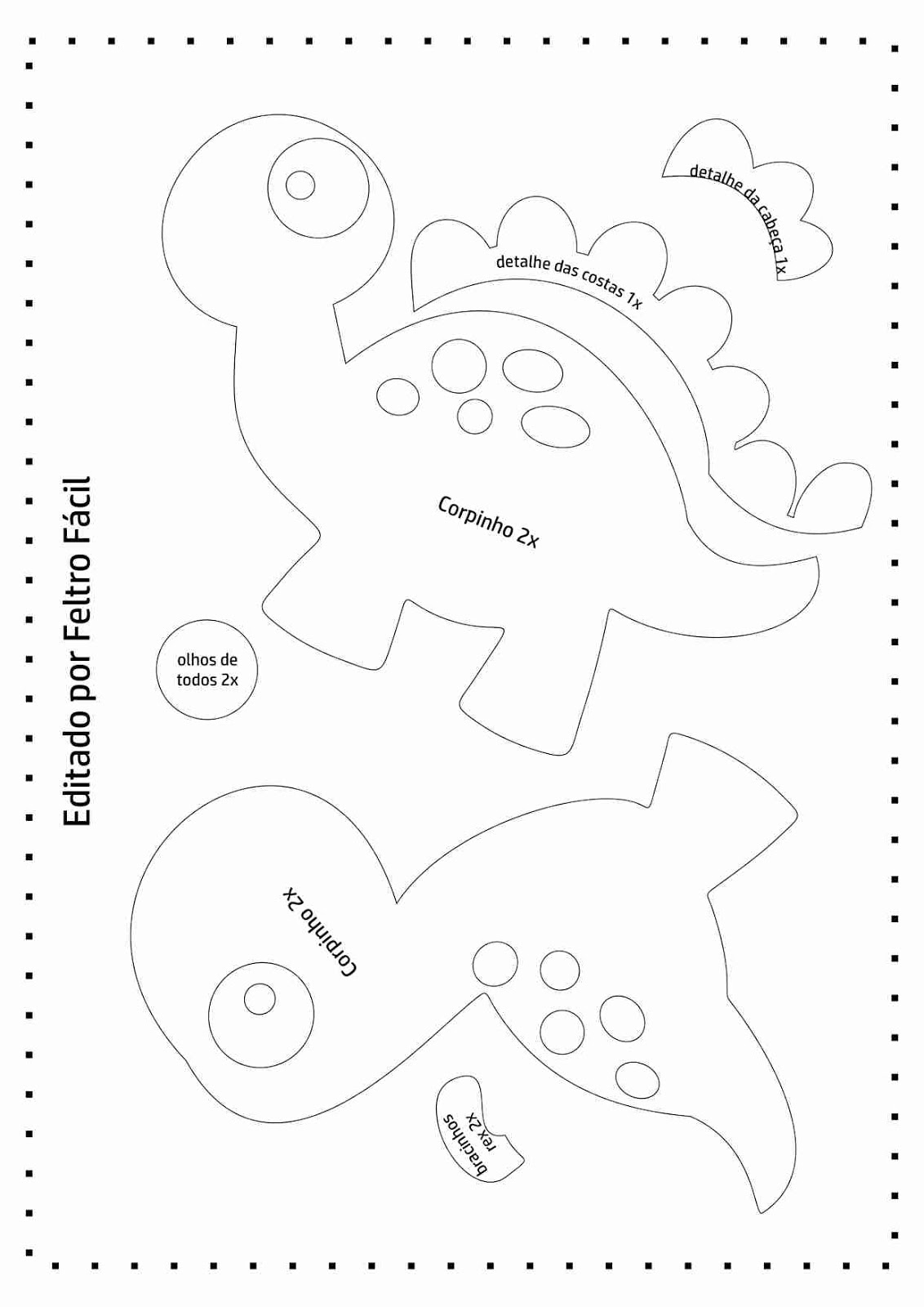 Preferência Feltro Fácil Moldes e Apostilas: Molde de Dinossauros em Feltro! FY66