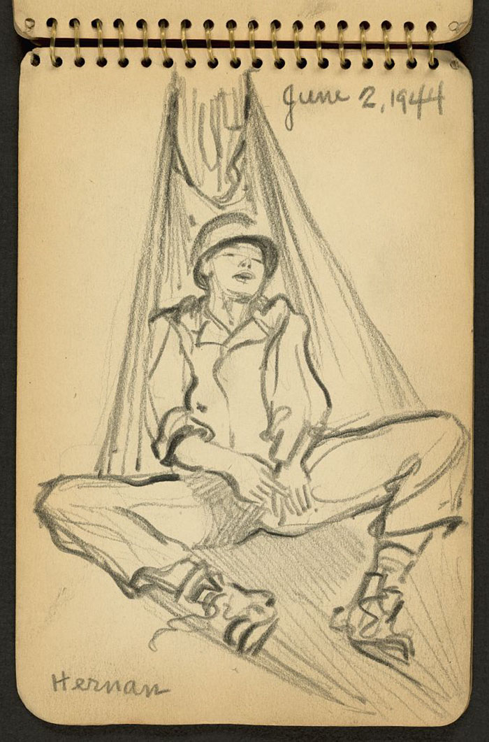 21-Year-Old WWII Soldier's Sketchbooks Show War Through The Eyes Of An Architect - Soldier Sleeping In Hammock While Stationed At Fort Jackson, South Carolina