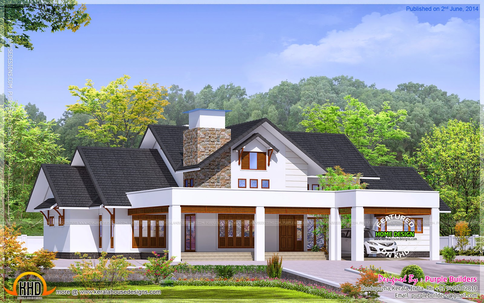 Elegant bungalow elevation kerala home design and floor for Elegant farmhouse plans
