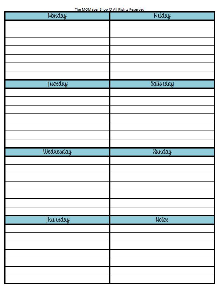 Week at a glance template new calendar template site for Day at a glance calendar template