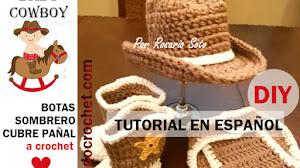 Conjunto Vaquero para Bebes: Botas, Sombrero y Cubrepañal a Crochet / Tutoriales