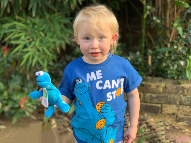 A toddler in a Cookie Monster t-shirt with Cookie Monster small plush