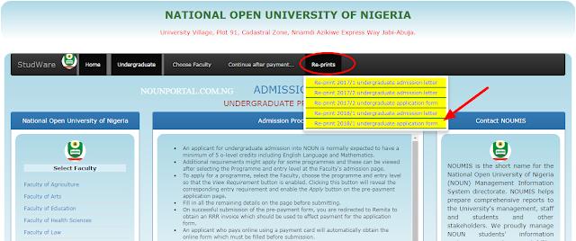 How to Reprint NOUN Admission Letter Undergraduate Postgraduate
