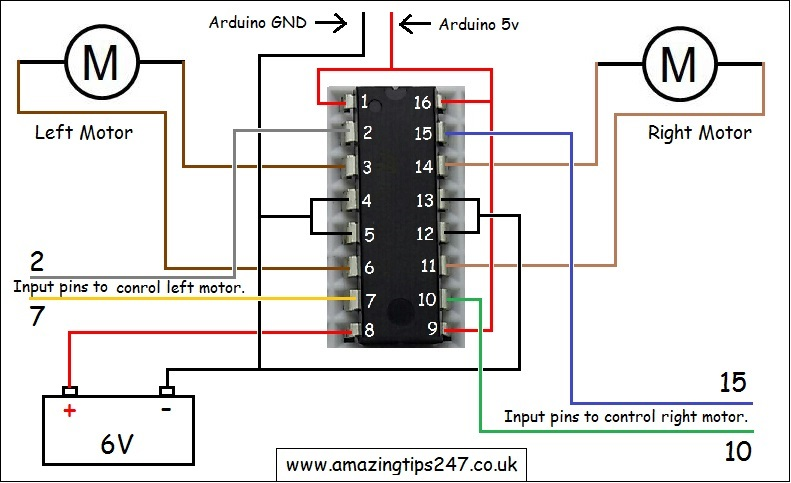 diagram motor control wiring working of laser printer with circuit l293d driver and how to wire it up amazing in the above you can see all wires are different colour except for both well i ve made one because pin