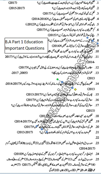 BA part 1 3rd year Education Guess Paper - Zahid Notes