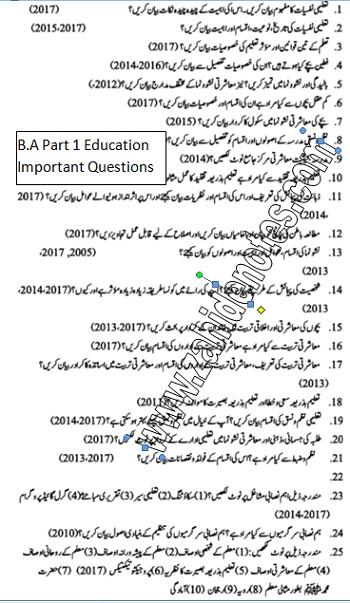 BA part 1 education important questions 2021