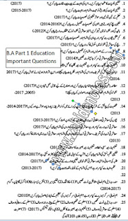 BA part 1 education important questions 2019