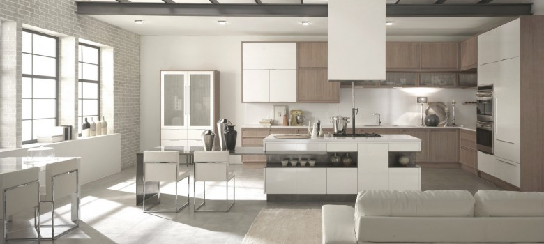 cuisine blanche et bois. Black Bedroom Furniture Sets. Home Design Ideas