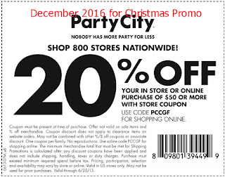 Party City coupons december 2016
