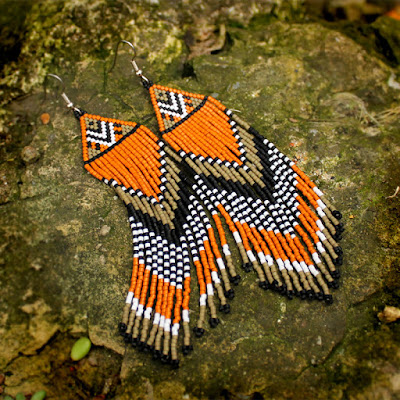 купить этно бохо украшения серьги из бисера в этническом стиле
