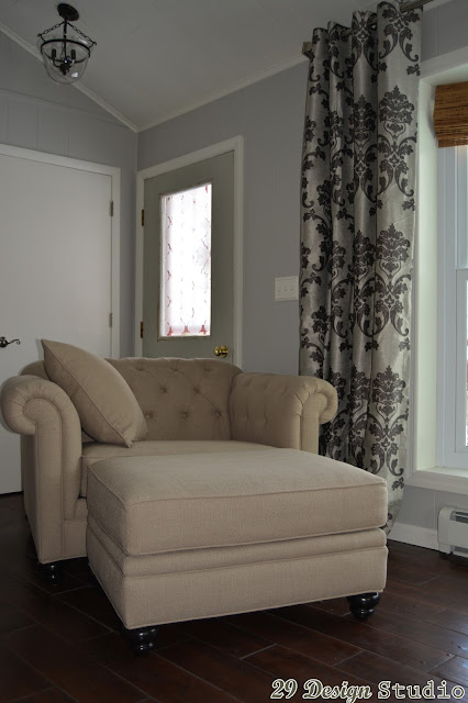 Beige Tufted Chair and a half
