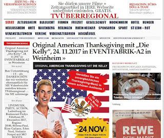 """Original American Thanksgiving mit """"Die Kelly"""", 24. 11.2017 in EVENTFABRIK-A2 in Weinheim  http://tvueberregional.de/37915-2/"""