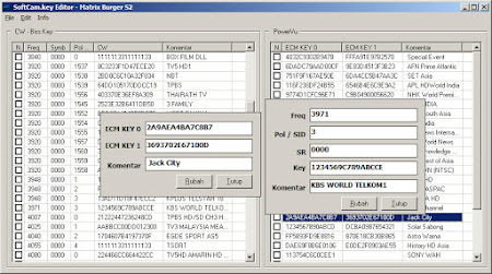 Softcam Editor Key Manager untuk Matrix Burger S2