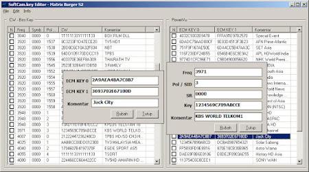 Softcam Editor Key Manager untuk Matrix Burger S2