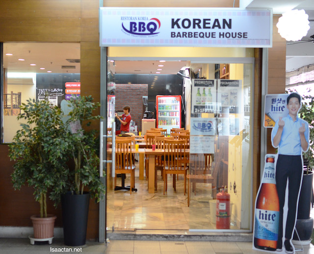 Unassuming restaurant front of Korean BBQ House on the first floor