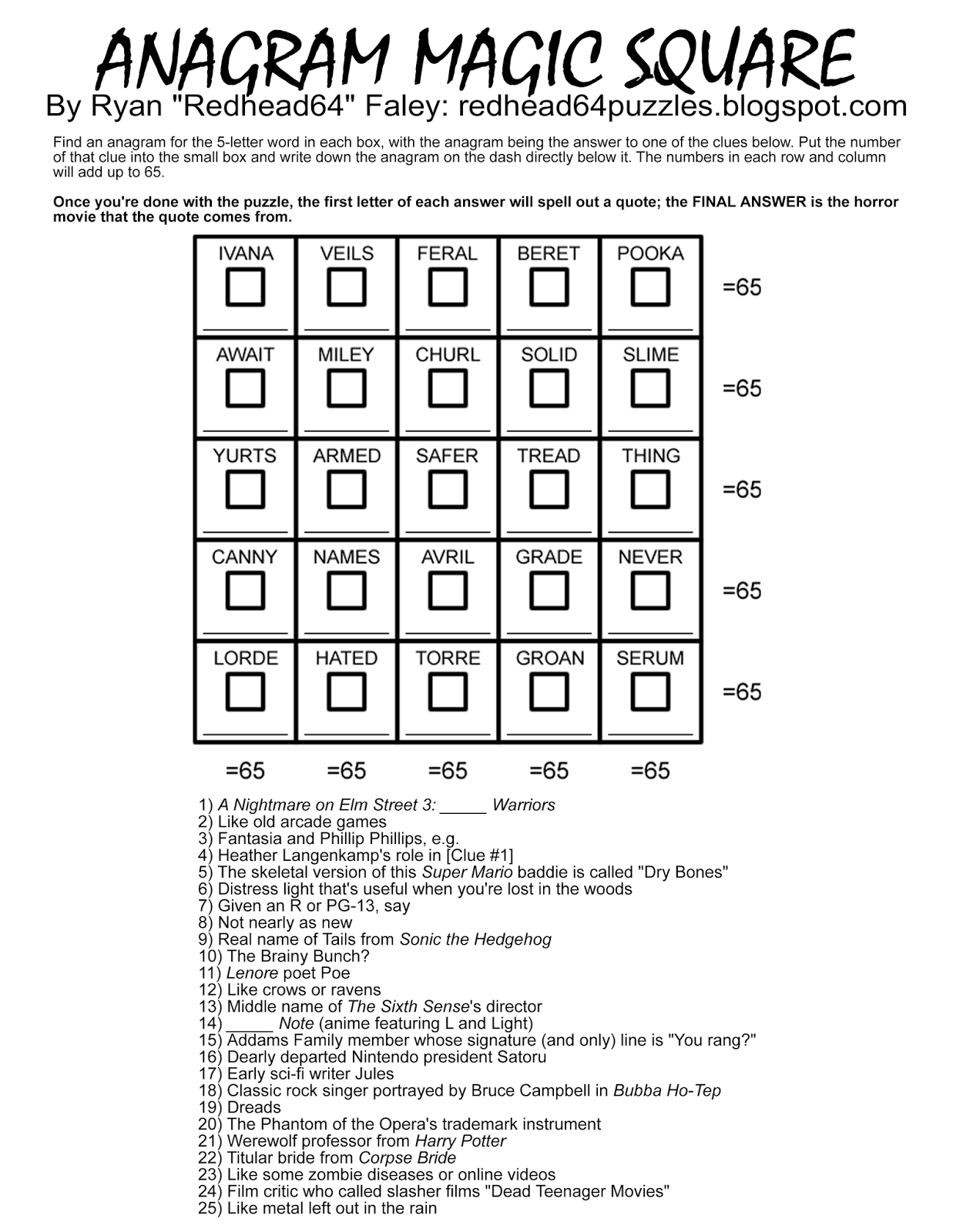 Redhead64 S Obscure Puzzle Blog Halloween Month Puzzle 45 Anagram Magic Square