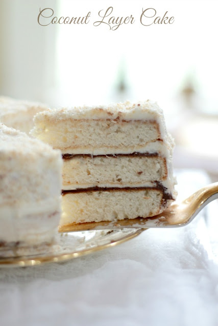 Coconut Layer Cake with Nutella Filling.