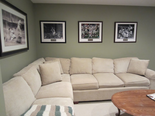 Man Cave Seating Area - Walls are Benjamin Moore Dry Sage