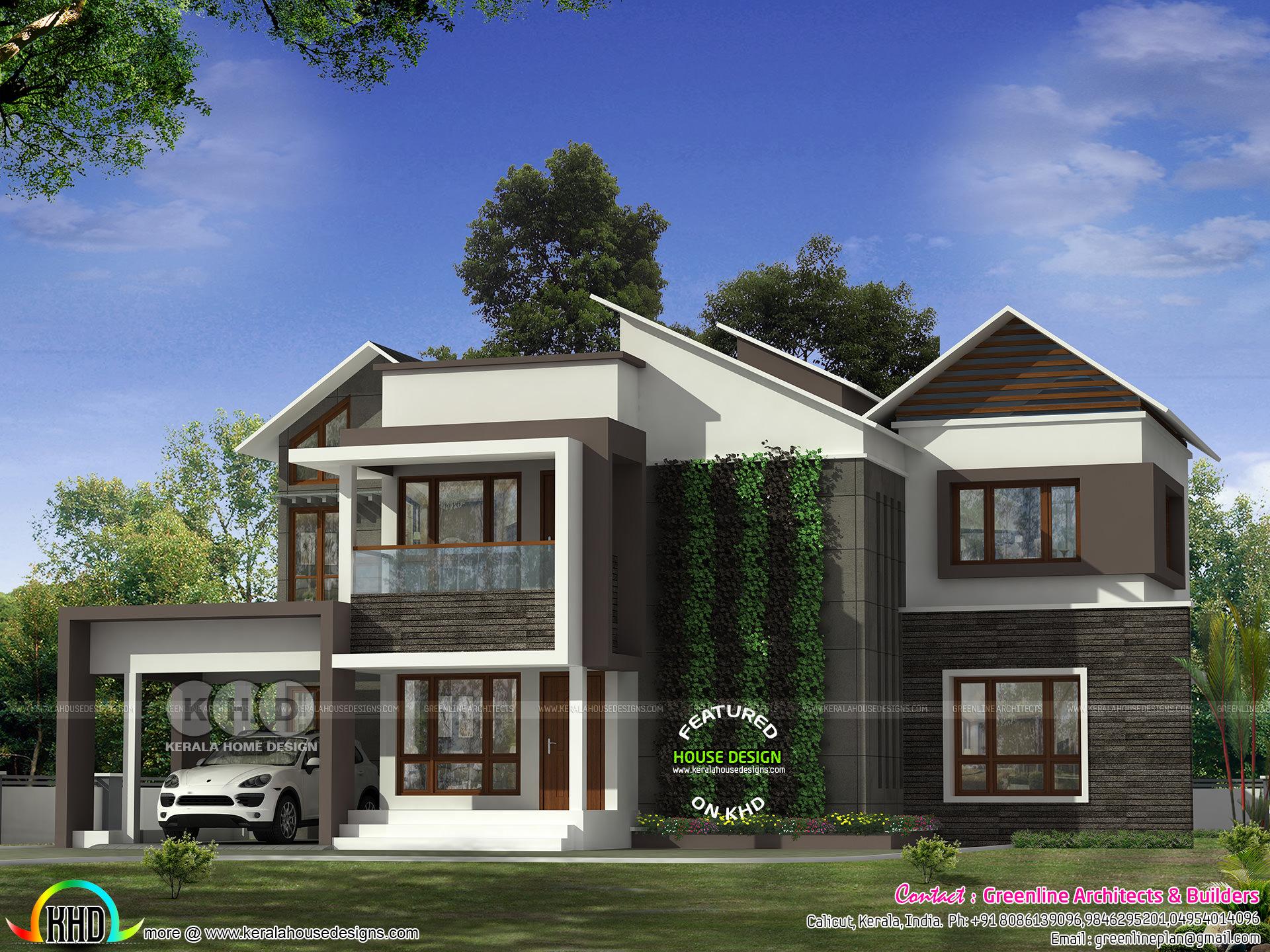 4 Bedroom Modern House With Vertical Garden Kerala Home