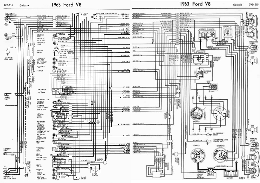 Ford V8 Galaxie 1963 Complete Electrical Wiring Diagram