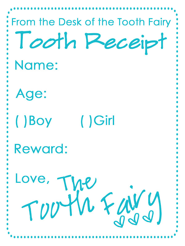 Tooth Fairy Receipt Template