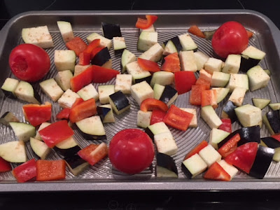 vegetables on a baking tray