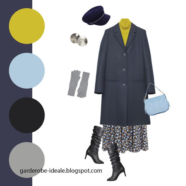 Сочетание темно-синего базового пальто с юбкой в цветочек и желтой водолазкой