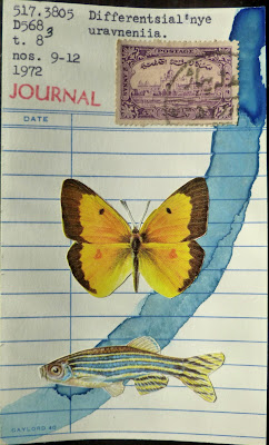 mail art library card postage stamp Dada Fluxus butterfly zebra fish collage