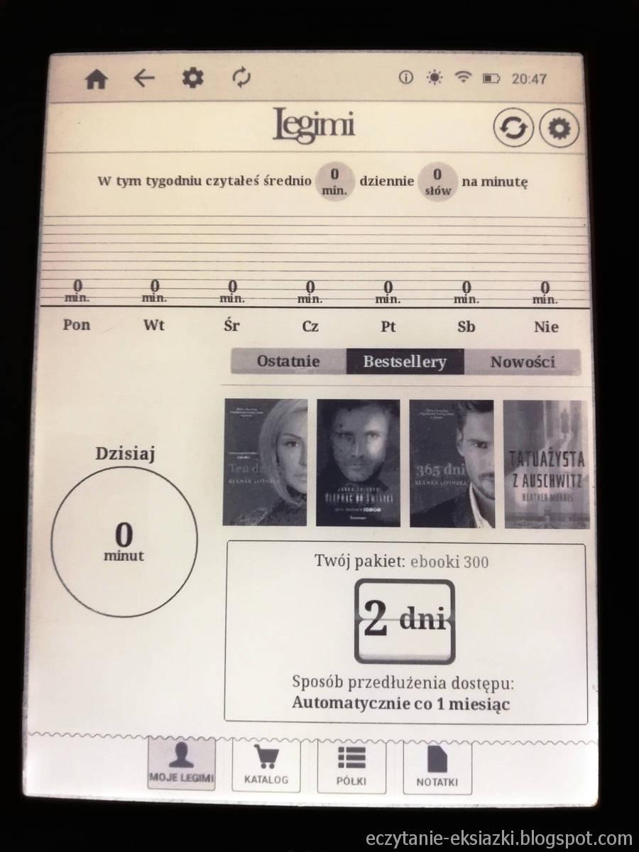 InkBOOK LUMOS – ekran startowy w aplikacji Legimi ebooks po zalogowaniu