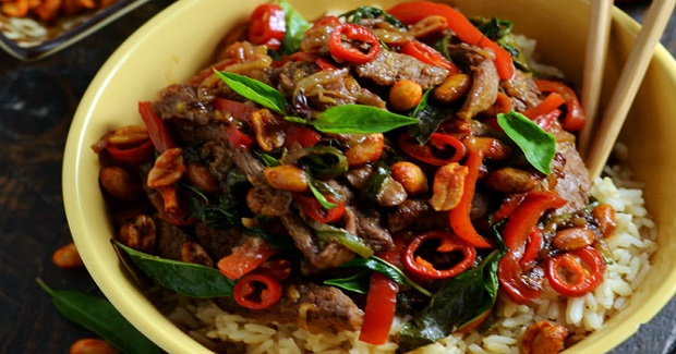 30 Minute Thai Beef Stir Fry With Sriracha Roasted Peanuts Recipe