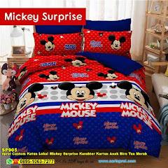 Sprei Custom Katun Lokal Mickey Surprise Karakter Kartun Anak Biru Tua Merah