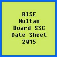 SSC Date Sheet 2017 BISE Multan Board