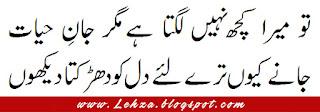 To Mera Kuch Nahi Lagta Hai Magar Jaan-e-Hayat  Jany Kyun Tery Liya Dil Ko Darakta Dekhon