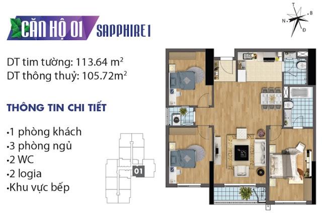 Thiết kế căn hộ số 1 tòa Sapphire 1