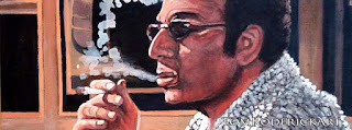 Cosmo Kramer smoking a cigarette by Boulder portrait artist Tom Roderick