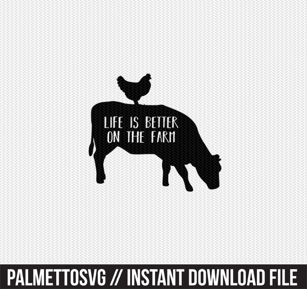 life is better on the farm clip art svg dxf cut file silhouette cameo cricut download